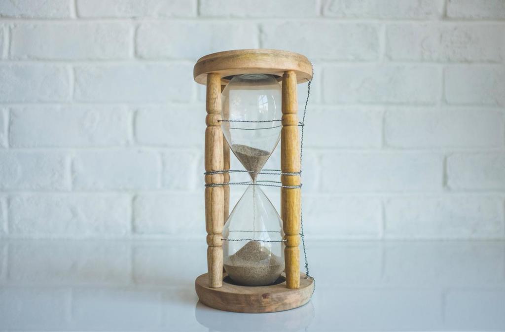 Zandloper als symbool voor tekort aan tijd
